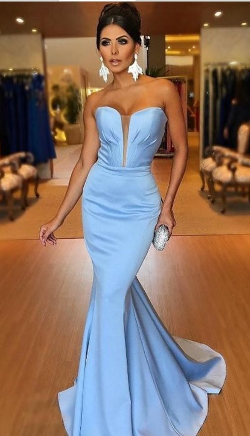 e9777b7336fd Light Blue Plunging Sweetheart Prom Dress Mermaid Formal Evening Gown Sweep