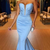 Light Blue Plunging Sweetheart Prom Dress Mermaid Formal Evening Gown Sweep