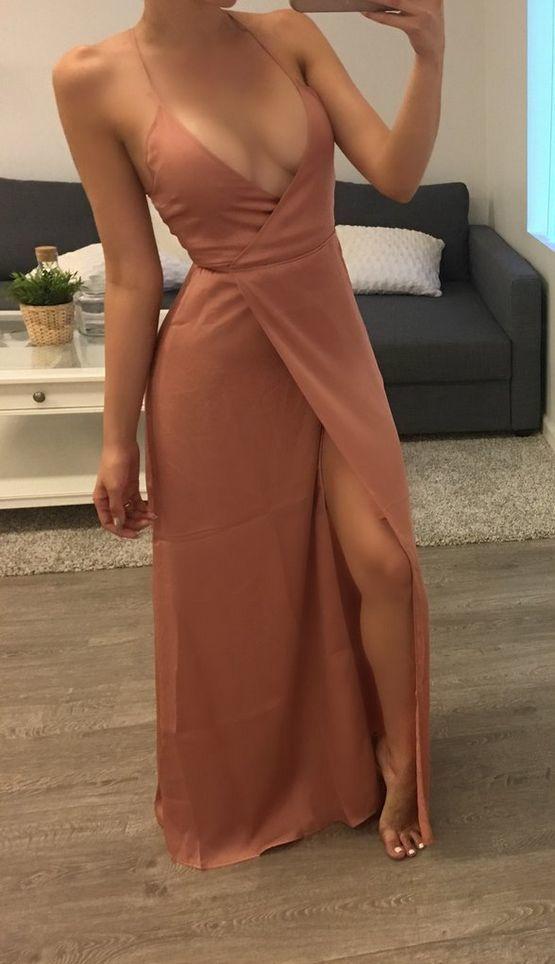 Split Prom Dress Deep V Neck Spaghetti Straps Evening Party Dress 2018