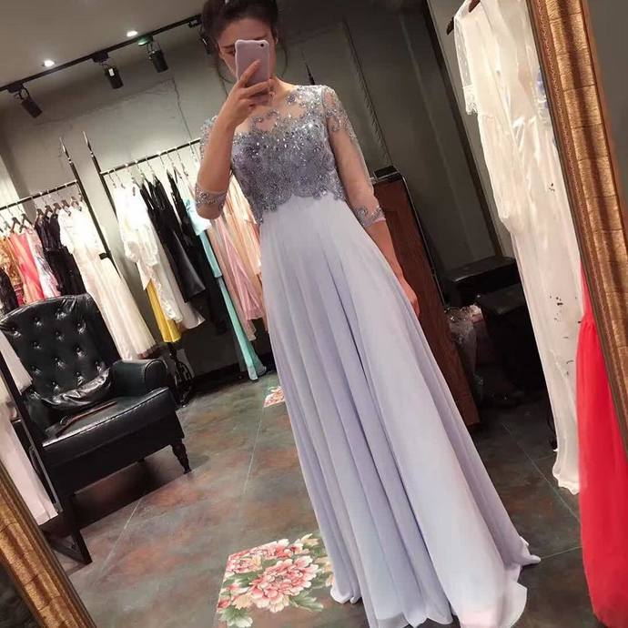Elegant Prom Dresses, Chiffon A Line Prom Prom Dress, Elegant Prom Dress,Modest