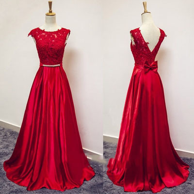 Red Lace and Satin V Back Long Prom Dresses, Red Formal Gowns, Evening Dresses