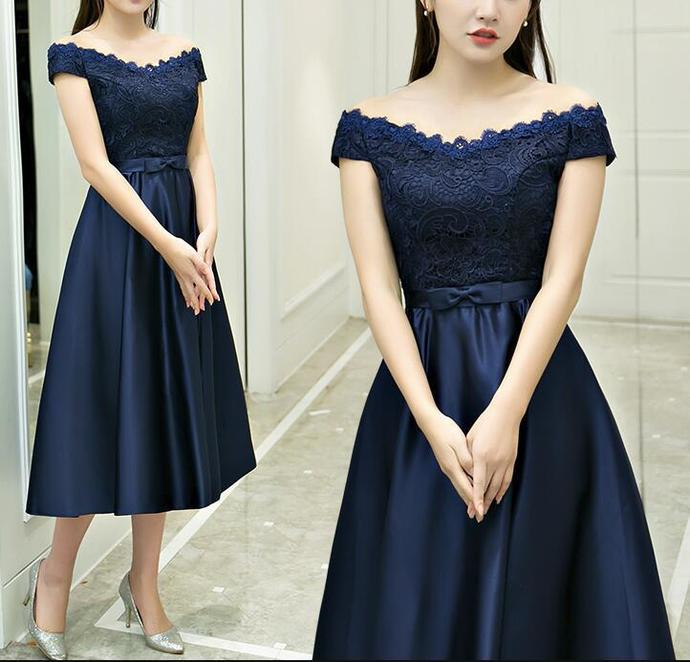 Beautiful Navy Blue Satin Tea Length Elegant By Dresses On Zibbet