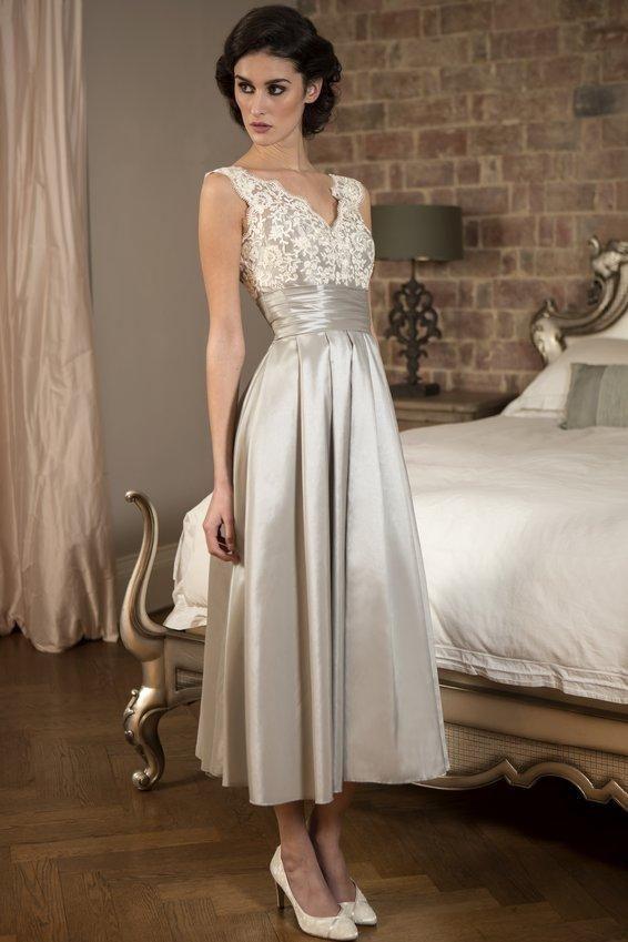 Vintage V Neck Tea Length Silver Occasion Dress By Dresses On Zibbet