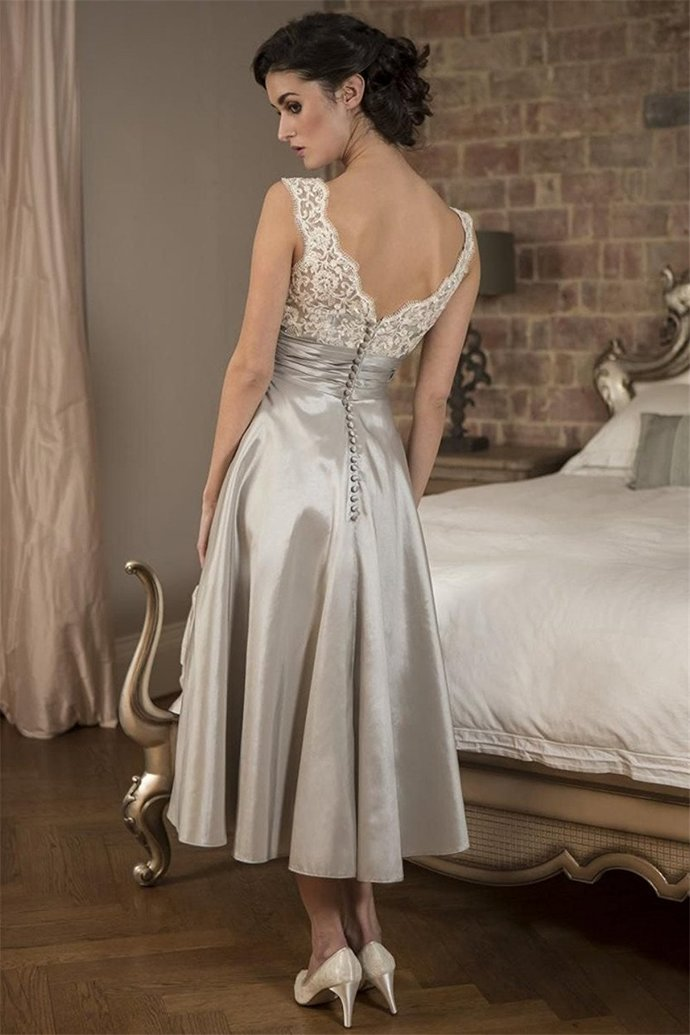 Vintage V Neck Tea Length Silver Occasion Dress with Pleated Cummerband Sexy V