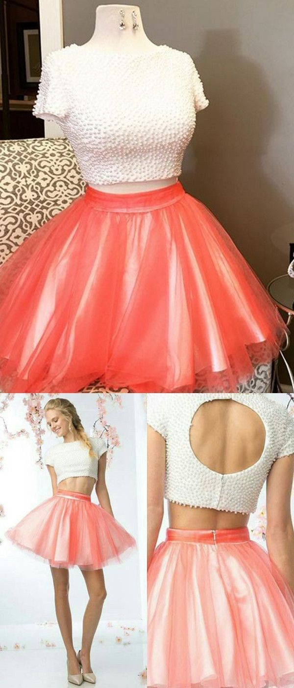 Two Pieces Homecoming Dress Short Prom Drsess Homecoming Dresses Custom Made