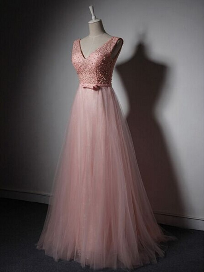 Pink Beading Evening Dress Prom Dress