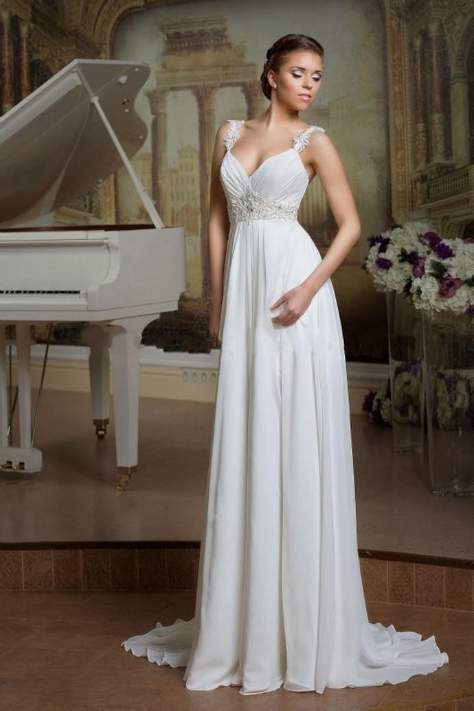Hot Beach Wedding Dresses White Ivory Beading Chiffon Bridal Gown, Sexy V-NECK