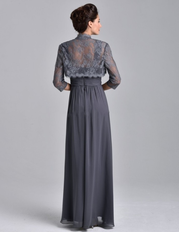 Lace Jacket Evening Dresses, Elegant Long Evening Gowns, Mother Of The Bride
