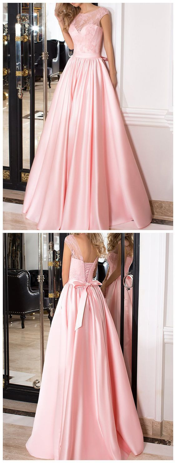 Simple Pink A-Line Stain Long Prom Dress 2018