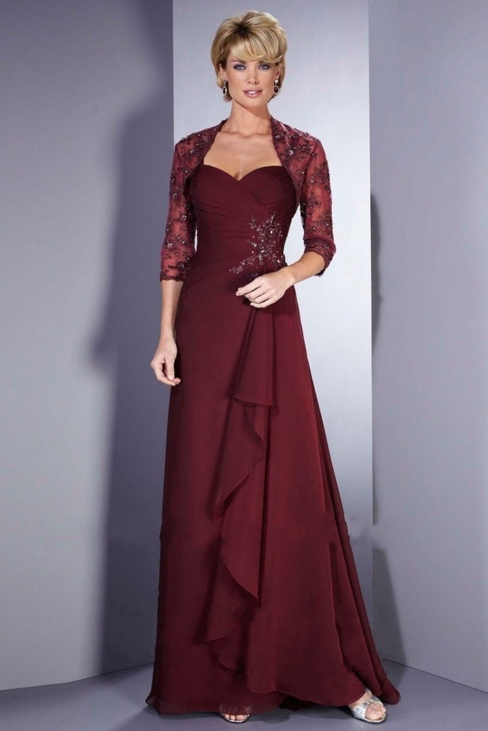Chiffon Bridesmaid Dress Appliques 3/4 Sleeve Gown Foraml Evening Gown Mother Of