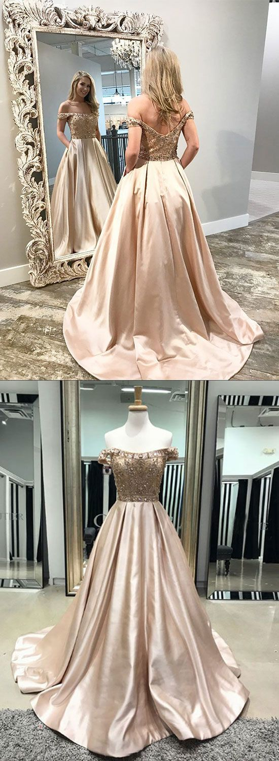 Champagne satin beaded long prom dress, off shoulder A-Line evening dress