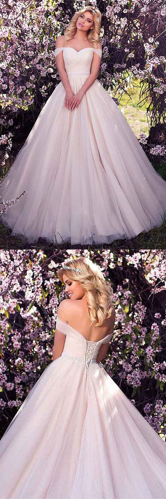 Tulle Off-the-shoulder Neckline A-line Prom Dress With Beading