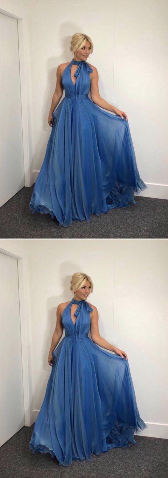 A-Line High Neck Blue Chiffon Long Prom Evening Dress