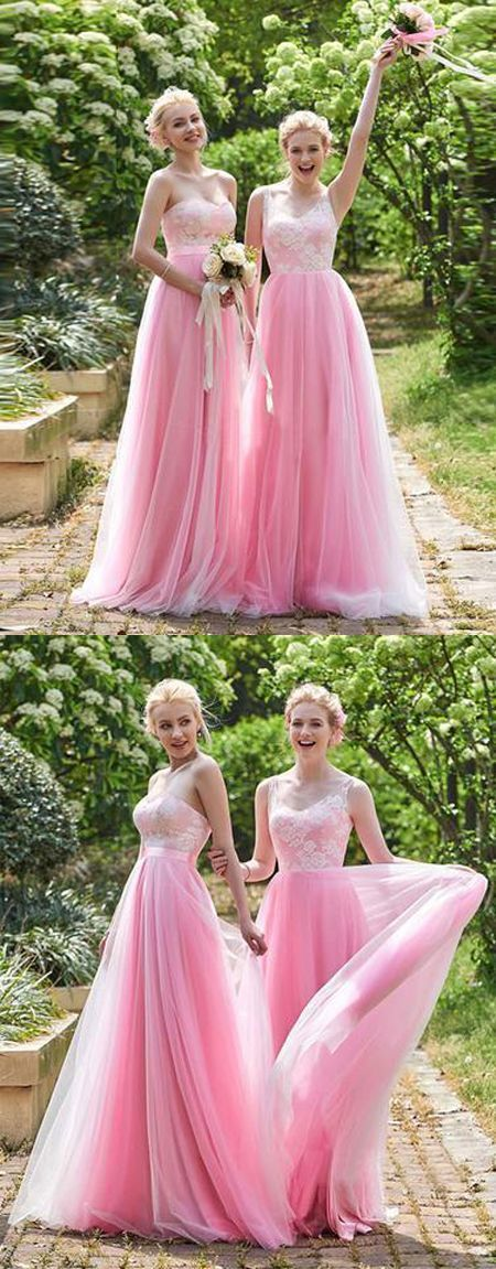 Beautiful A-Line Pink Long Prom Dress with Lace