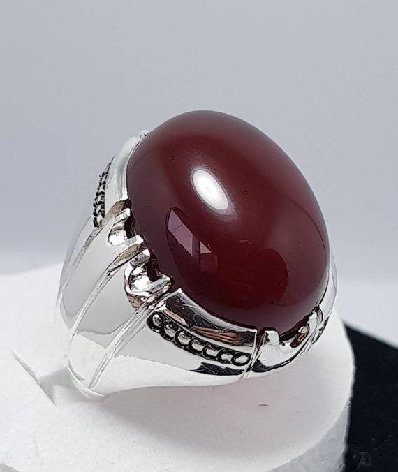 Mens Dark Brown Yemeni aqeeq Ring - Agate Rings Mens - Yemeni Akik Ring
