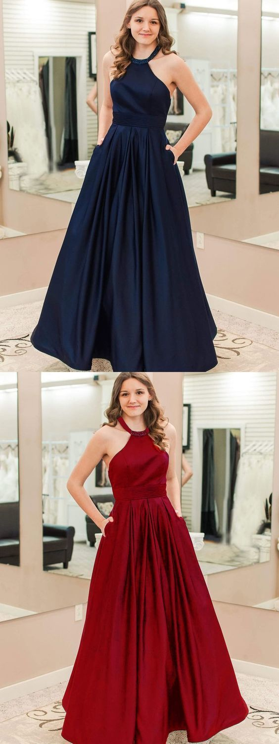 Halter Navy Blue Satin Prom Dress, Simple burgundy long formal evening party