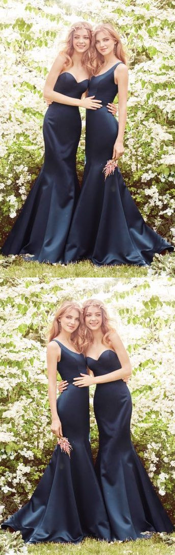 Sexy Navy Blue Mermaid Long Bridesmaid Dress for Wedding