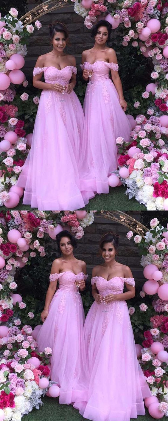 Charming Bridesmaid Dress, Off Shoulder Pink Bridesmaid Dress,Tulle Long