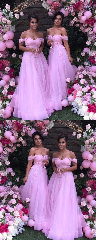 Charming Bridesmaid Dress, Off Shoulder Pink Bridesmaid Dress,Tulle Long