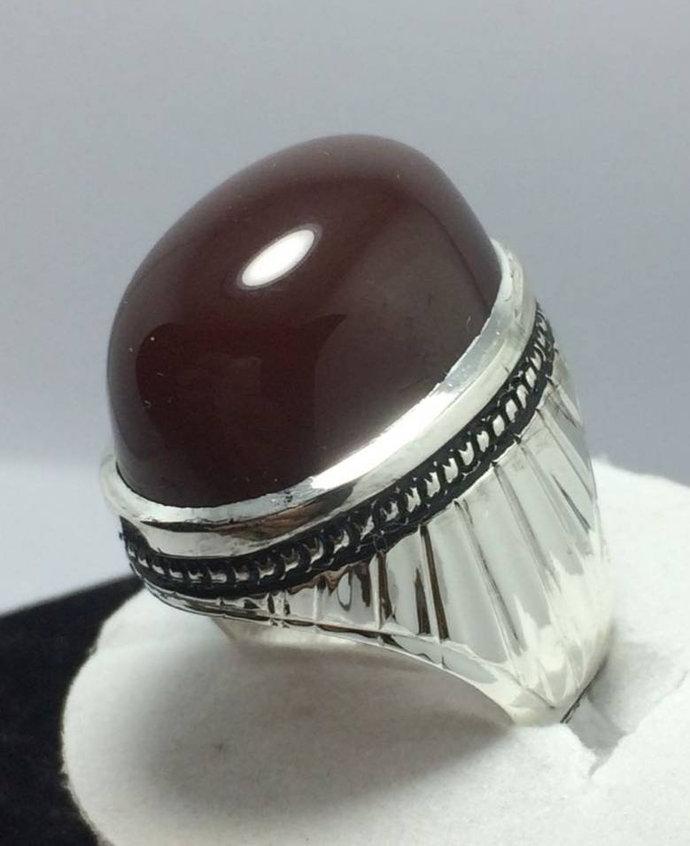 Men Dark Brown Yemeni Aqeeq Ring Shifat Al Abad Akik Ring Agate Ring Silver Ring