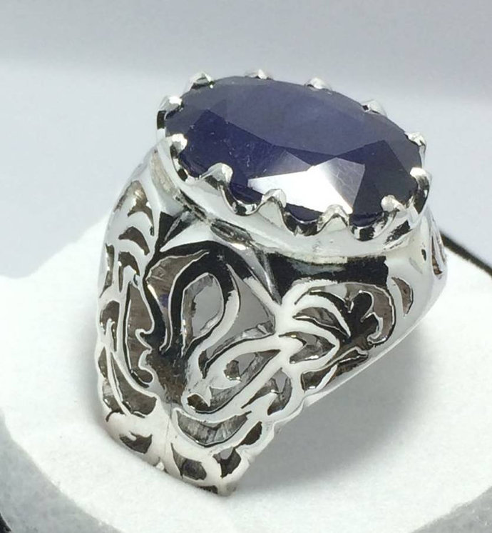 Mens Sapphire ring Kashmir sapphire ring dark blue sapphire neelam ring 10 ct
