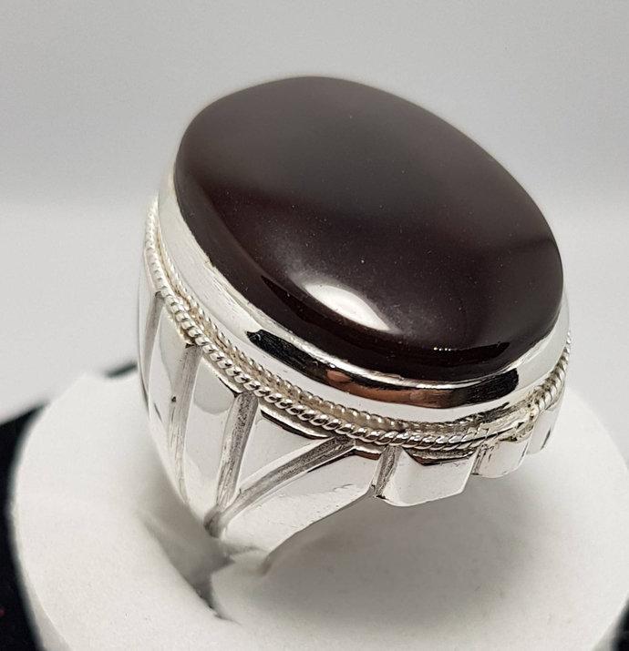 Mens Brown Black Aqeeq Ring Yemeni Aqeeq Ring for Men Mens Yameni akik Ring