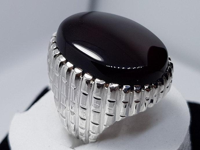 2b74f85c12d67 Big Kabadi Black Aqeeq Ring Yemeni Aqeeq Ring for Men Mens Yameni Aqeeq  Ring Black Aqeeq agate Ring Akik Ring Shia Rings Sterling Silver