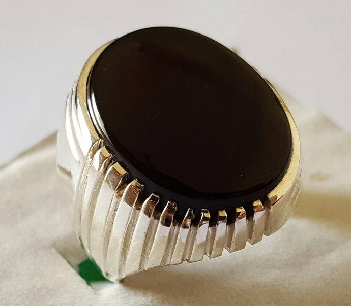Big Kabadi Black Aqeeq Ring Yemeni Aqeeq Ring for Men Mens Yameni Aqeeq Ring