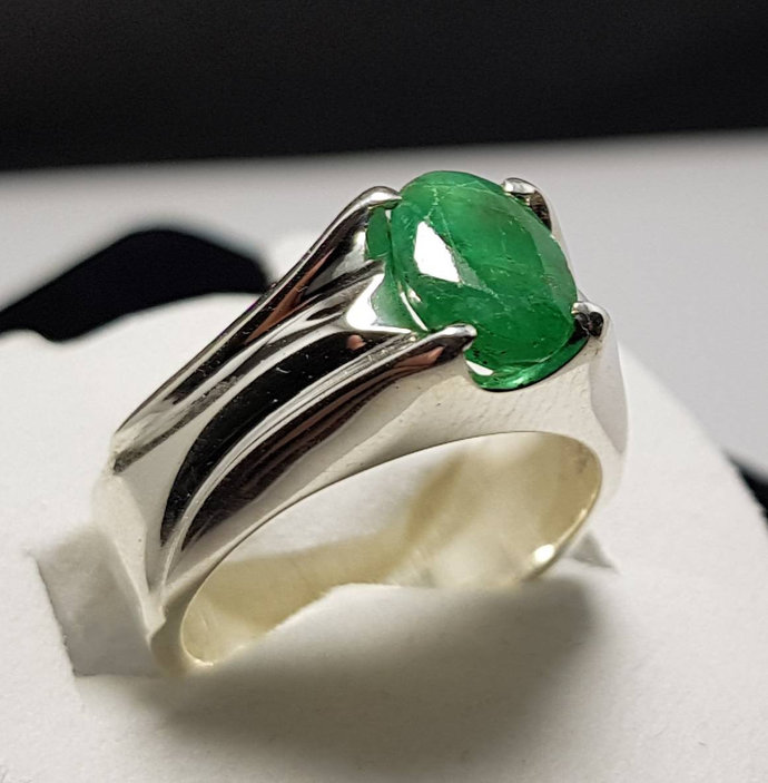 Natural Emerald Ring Unheated Untreated Rich Green Emerald Ring Afghanistan