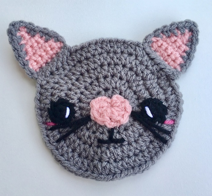 Kawaii Kitty Cat Applique Crochet Pattern - PATTERN ONLY - Instant Download