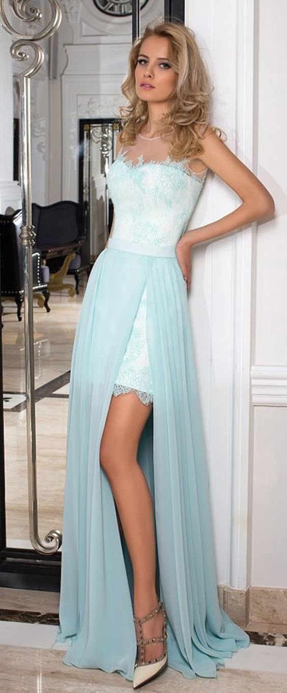 Winsome Lace & Chiffon prom gowns, Jewel Neckline evening dress,A-line Prom