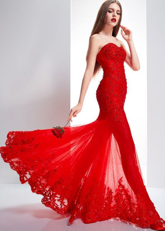 Women's Red Lace Floor Length Formal Occasion Dress Party Dress Evening Dress