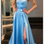 Long Prom Dress,Women Party Gowns,Blue Formal Gowns,Straps Prom Dresses,Split