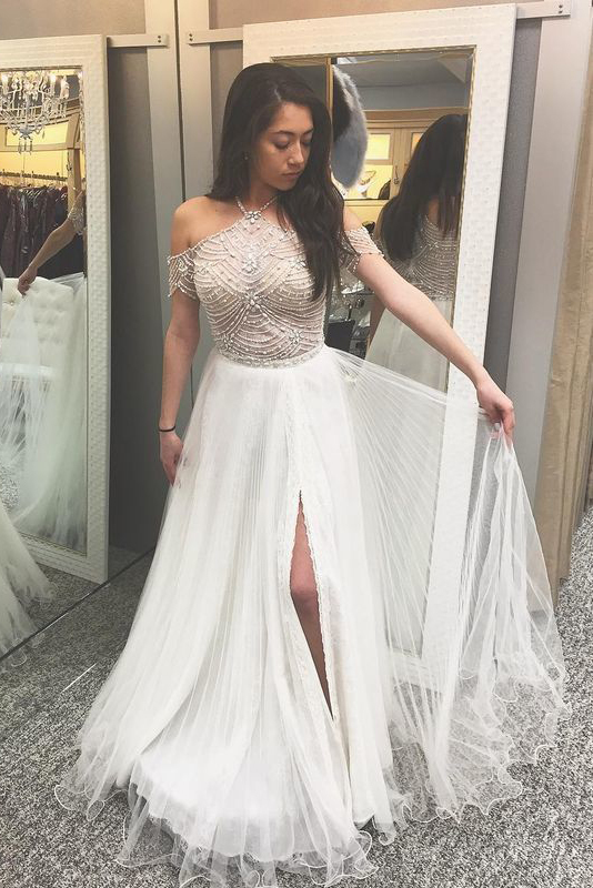 A-Line Prom Dresses,Halter Prom Dress,Cold Shoulder Prom Gown,Prom Dress with