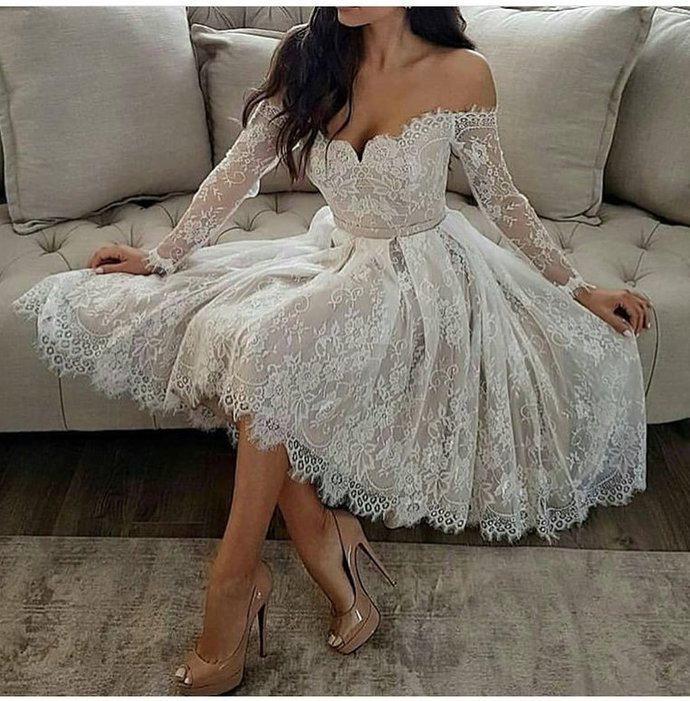 1bc8a93ad8 Elegant White Lace Long Sleeves V-Neck Homecoming Dresses Off The Shoulder  Prom
