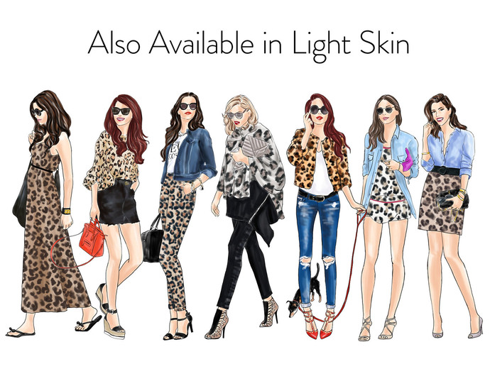 Watercolour fashion illustration clipart - Girls in Animal Print 2 - Dark Skin
