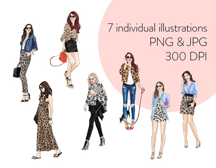 Watercolour fashion illustration clipart - Girls in Animal Print 2 - Light Skin