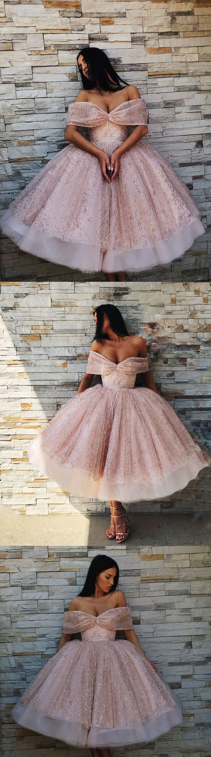 CHIC A-LINE PINK OFF-THE-SHOULDER SHORT PROM DRESS SPARKLY HOMECOMING DRESSES