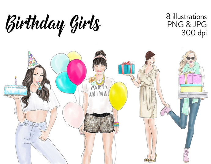Watercolour fashion illustration clipart - Birthday girls - Light skin