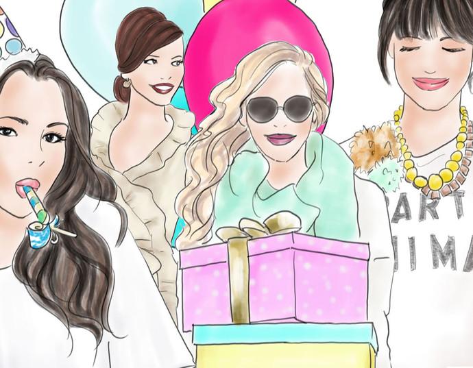 Watercolour fashion illustration clipart - Birthday girls - Light skin