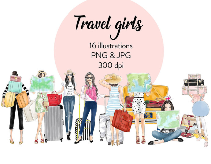 Watercolour fashion illustration clipart - Travel Girls