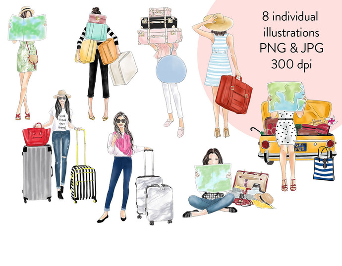 Watercolour fashion illustration clipart - Travel Girls