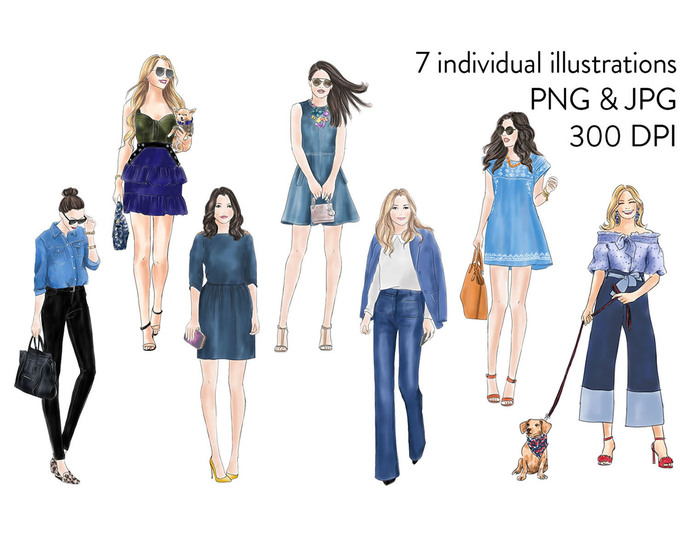 Watercolour fashion illustration clipart - Girls in Denim - light skin