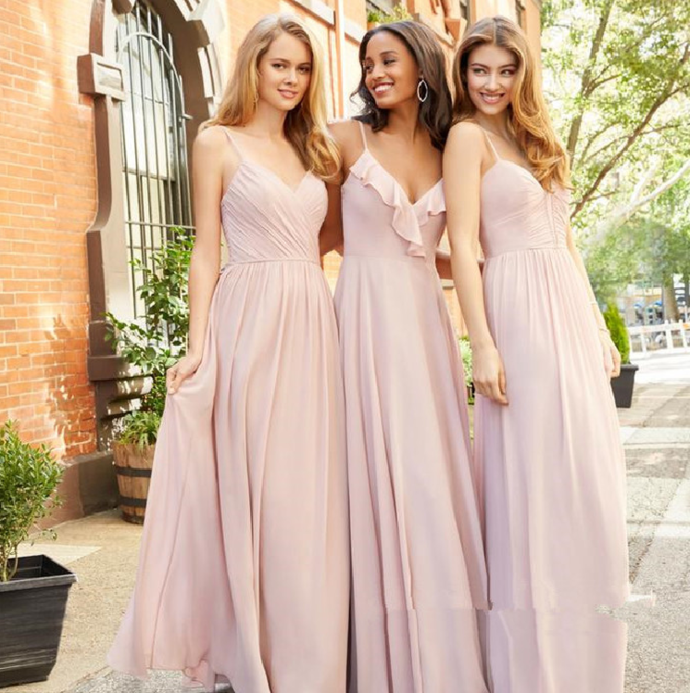 Mismatched Bridesmaid Dress, Chiffon Bridesmaid Dress, Pink Bridesmaid Dress