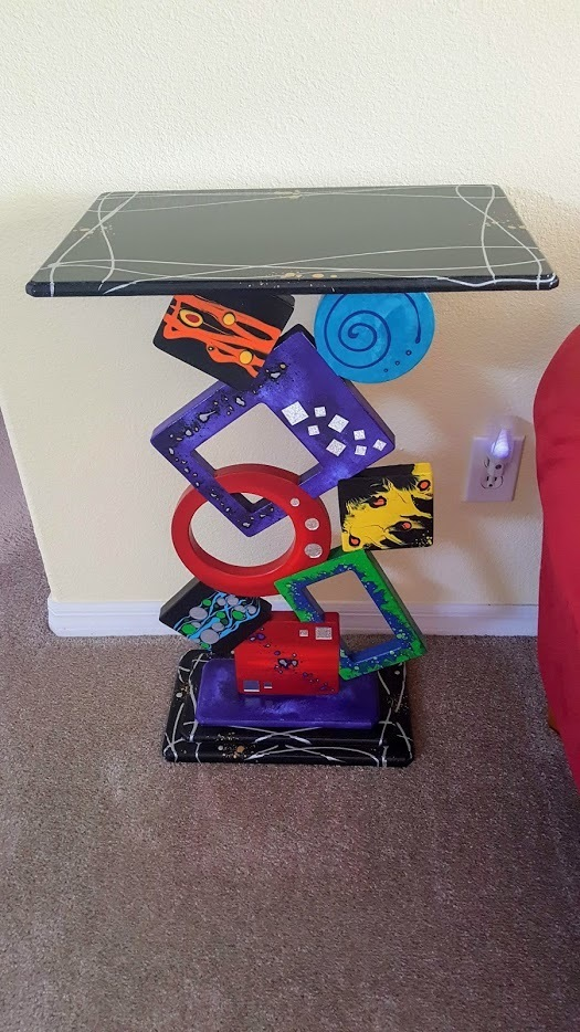 Funky Vibrant Abstract Geometric Entrance Table, Pedestal, Wood Sculpture with