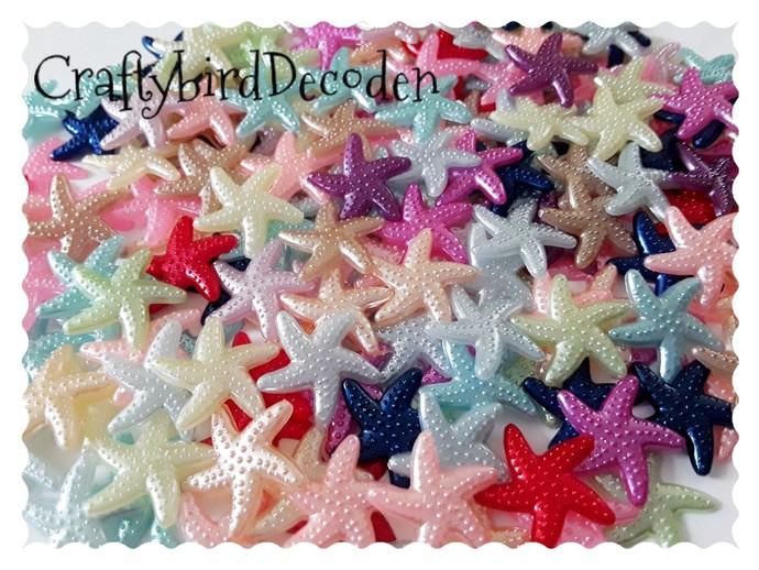 10 x Acrylic Starfish flatback, embellishments. Mixed colour pack. Mermaids,