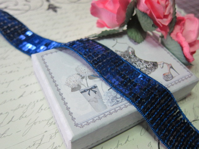 "Sparkling Sequin Ribbon Trim - 1"" Blue stl"