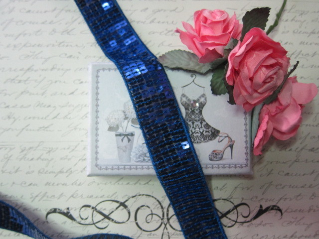 "Sparkling Sequin Ribbon Trim - 1"" Blue stl"