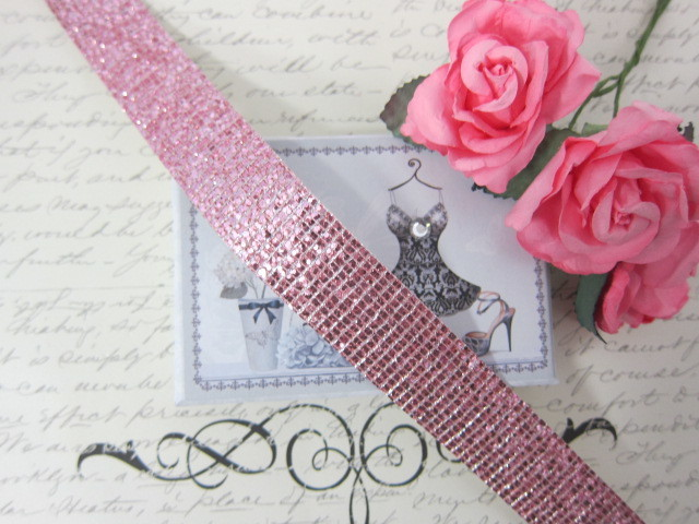 "Sparkling Iron on Ribbon Trim - 1"" Pink stl"