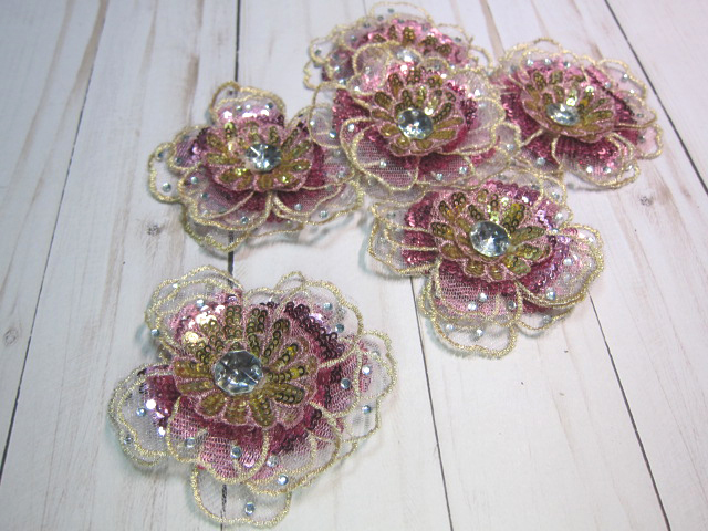Layered Beaded Sequin Embroidered Lace Flower Applique - Pink, White